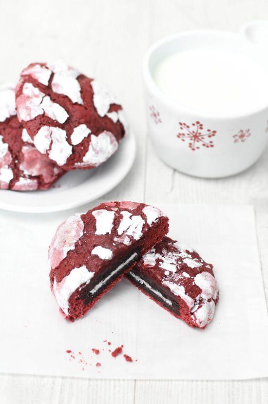 Sprinkle Bakes: Oreo-Stuffed Red Velvet Crinkles