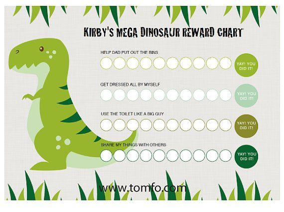 personalised dinosaur chore chart