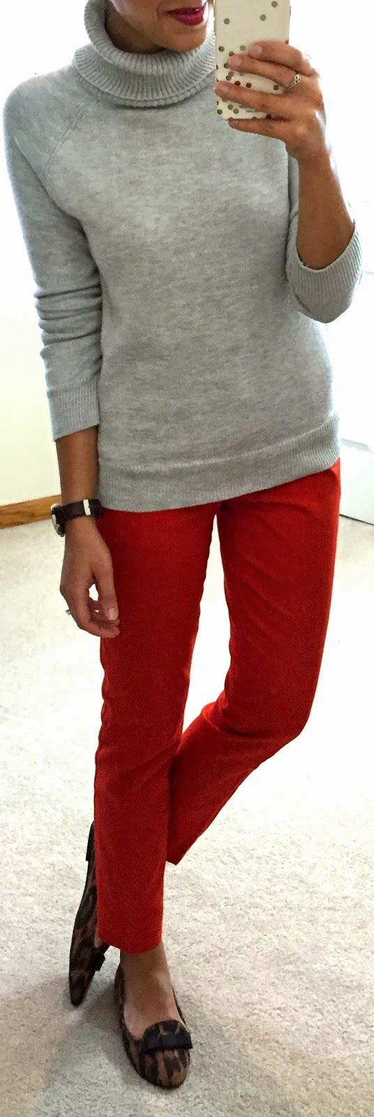 grey turtleneck, red pants, & leopard print flats