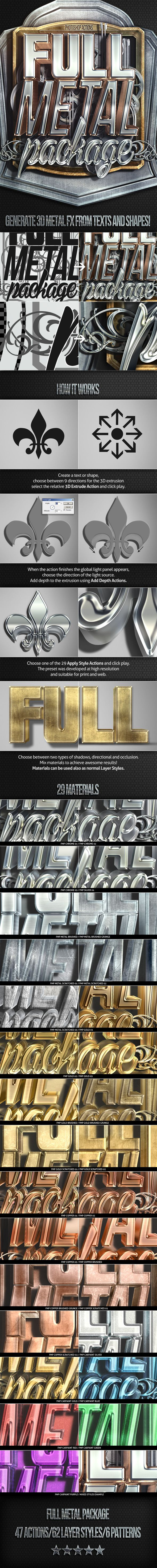 Full Metal Package 3D - Photoshop Actions. Download here: http://graphicriver.net/item/full-metal-package-3d-photoshop-actions/7947591?ref=ksioks