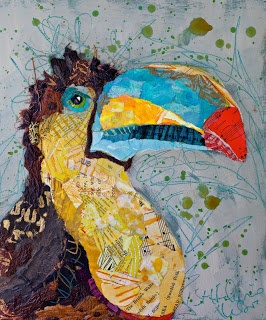 Paper Paintings: For The Birds  Van geverfd papier collages