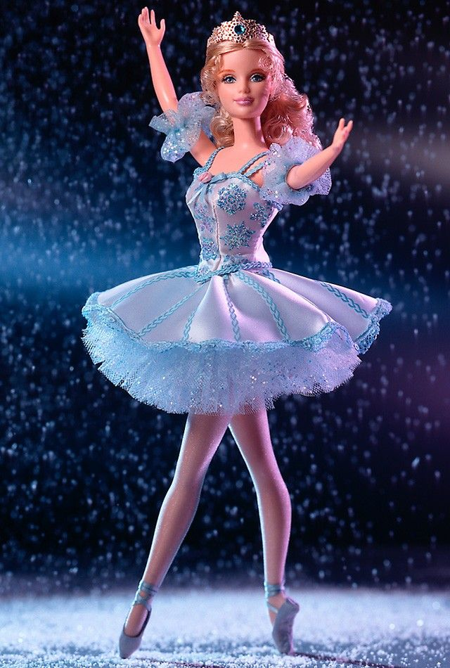 """Barbie® Doll as Snowflake in """"The Nutcracker"""" takes the stage as a beautiful ballerina in this holiday classic!"""