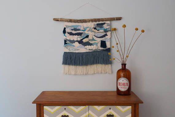 Large Blue Wall Weaving Loom Wall Hanging Tapestry
