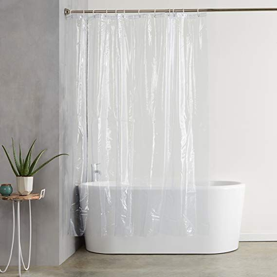 Amazonbasics Heavyweight Clear Shower Curtain Liner With Hooks 20