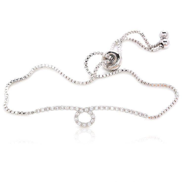Amazon.com: Luxury Bracelet 31 Round Cubic Zirconia Silver Plated Box Chain: Jewelry