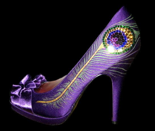 I'm thinking a purple shoe of my choice and this deisgn...  Royal Crystal Peacock by ThePaintedShoe on Etsy, $125.00