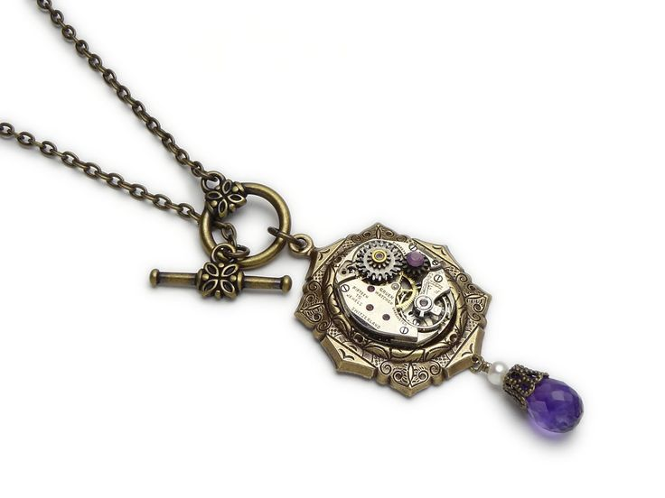 Steampunk Necklace Gruen watch wheels gears cogs antique 1940 15 ruby jewels gold silver genuine Amethyst and pearl filigree purple opal Swarovski crystal stone vintage pendant