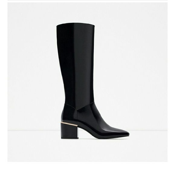 Zara boots Black boots with gold hardware. New never worn COMES WITH BOX if you want it. Zara Shoes Heeled Boots