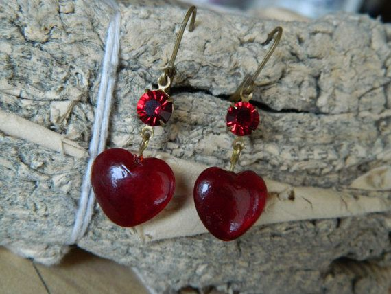 Valentines Dangle Earrings Vintage Glass Red Hearts by 58Diamond