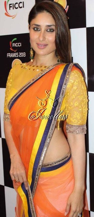 Kareena Kapoor Flamboyant & Glowing Net saree   Material Used: Net And Satin  Colour: Orange and Light yellow   Price: $76 https://www.facebook.com/pages/LF-Jewellers/423983984326803?id=423983984326803&sk=photos_stream#!/photo.php?fbid=690548341003698&set=pb.423983984326803.-2207520000.1396940682.&type=3&theater