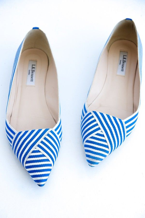 Blue and white striped flats. LK Bennett. - photo by http://www.rossiniphotography.it