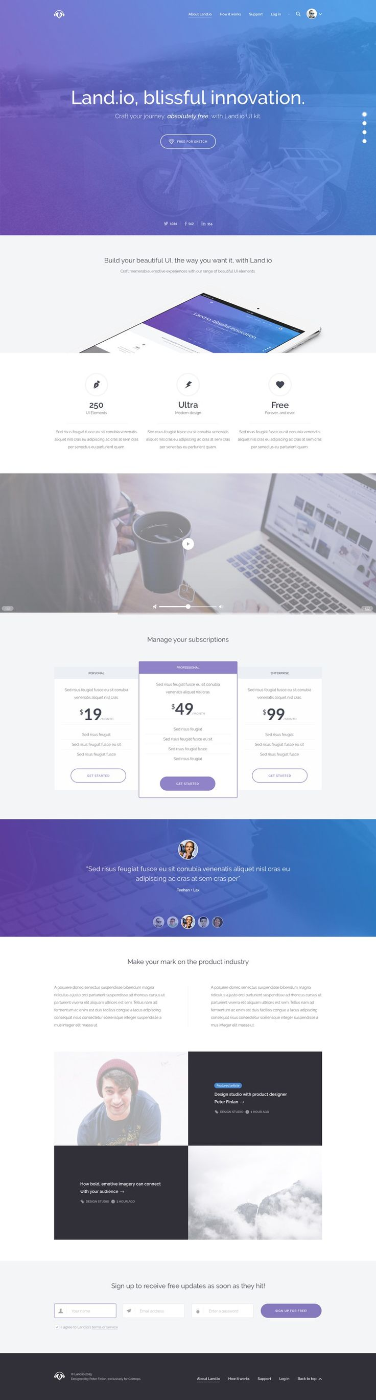 A Versatile Landing Page UI Kit Designed In Sketch With Thoughtfully  Crafted Website Elements That Will Take Your Website Project To The Next  Level.