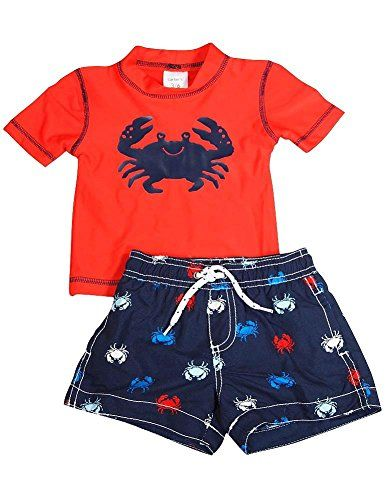 Carters - Newborn and Infant Boys 2 Piece SPF 50 Crab Swimsuit Set, Red, Navy 35729-6-9Months. RED-NAVY Color. Size: 6-9 Months. Variation Attributes: (RED NAVY)Color, (6 9 Months)Size. True to Size. Carters. Hand Wash, Line Dry. Protect him from the sun and sand with this 2 piece rashguard swim set, Set includes a SPF 50+ Ultraviolet Protection rashguard top with swim trunks to match, Swim trunks have a full elastic waistband with a mesh liner, Top is 85% polyester and 15% Spandex,...