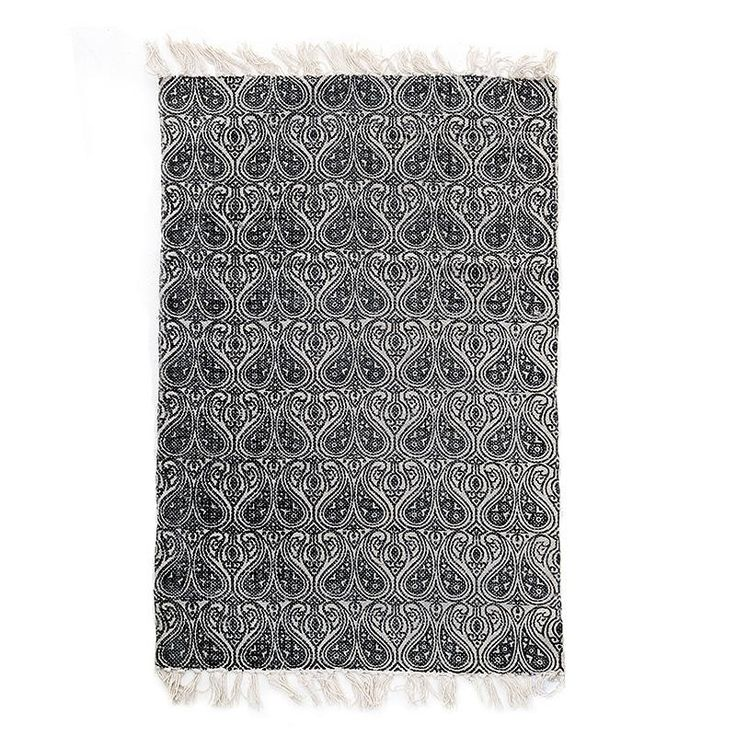 COTTON STONE WASHED CARPET IN GREY/CREAM COLOR 150X210 (100% COTTON) - inart