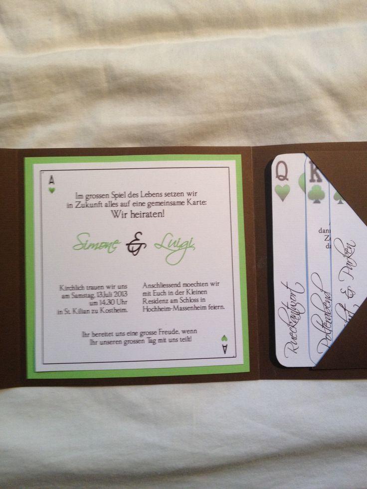 Einladung Zur Hochzeit Mit Pokerkarten Motiv   Variante In Schokobraun Und  Apfelgrün, Innenseite