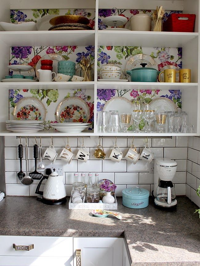 Swoon Worthy: Kitchen Shelving: Designers Guild Alexandria Wallpaper finally up!