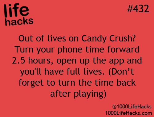 Candy Crush Saga Hack - get more lives now for free! It's horrible I'm so addicted to this game that I actually use this hack...but hey, it works!