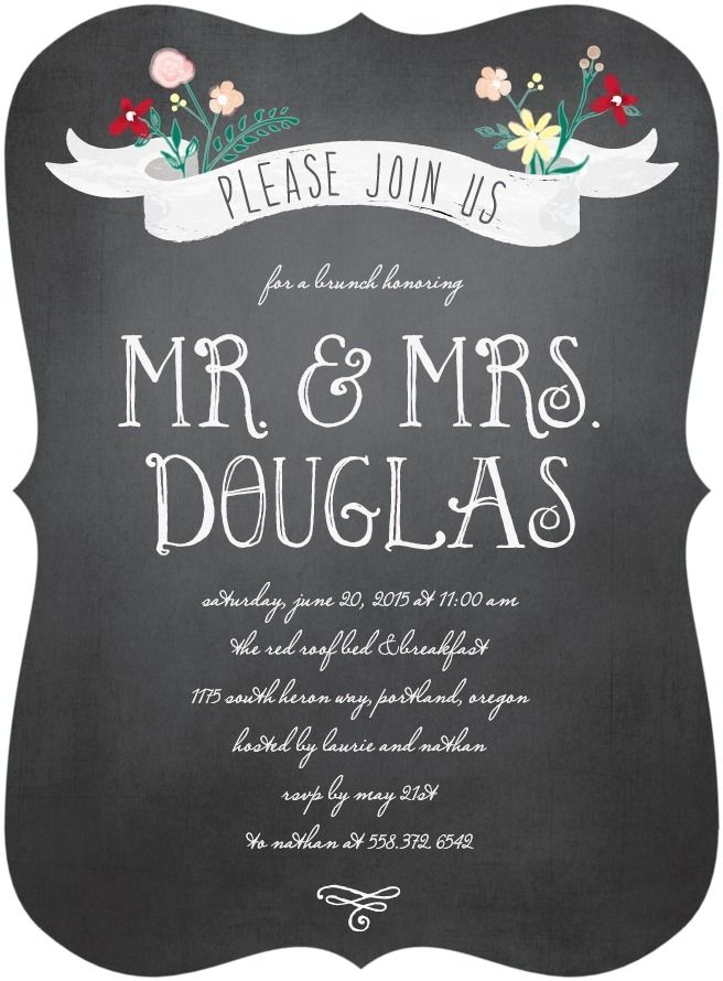 Please Join Us At A Brunch Honoring Mr And Mrs Elopement Or Post Wedding Party Invitations