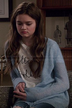 Emma's 'Hello Goodbye' tee and blue fluffy cardigan on Red Band Society.  Outfit Details: http://wornontv.net/45414/ #RedBandSociety