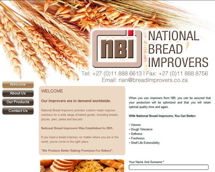 NATIONAL BREAD IMPROVERS, Bread Improvers For Baked Goods, National Bread Improvers (NBI) offers a wide range of innovative custom made improver products to the baking, milling and confectionery industries. Visit http://www.breadimprovers.co.za