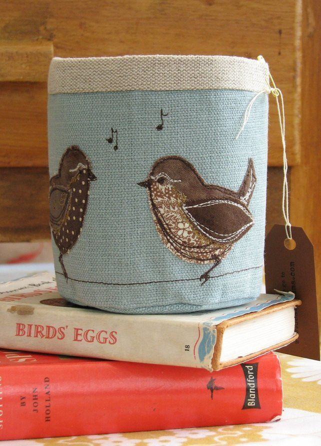 Singing Wrens Fabric Pot, free motion embroidery and applique