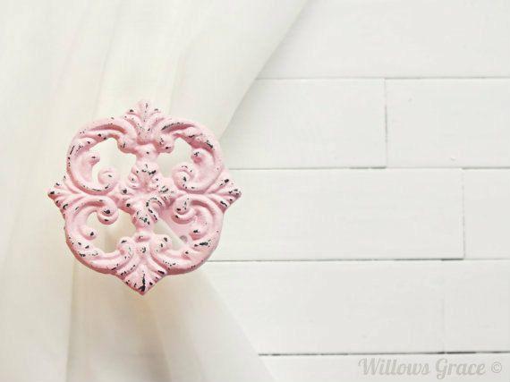 Two Metal Curtain Tie Backs / Curtain Tiebacks / Curtain Holdback / Drapery Tie Back / Shabby Chic Window / Pink Home Decor / Curtain Hook