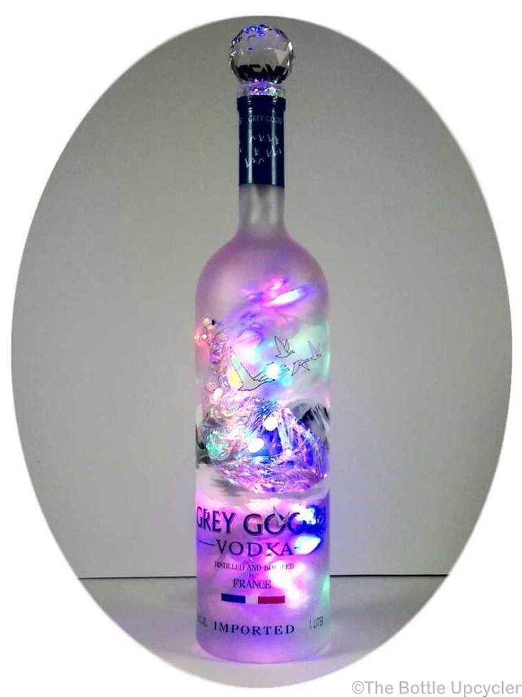 Upcycled Grey Goose Vodka Mood Therapy Bottle Light with Multi-Color LED's - http://www.bottleupcycler.com/shop/mood-therapy-upcycled-liquor-bottle-lights/upcycled-grey-goose-vodka-mood-therapy-bottle-light-with-multi-color-leds/