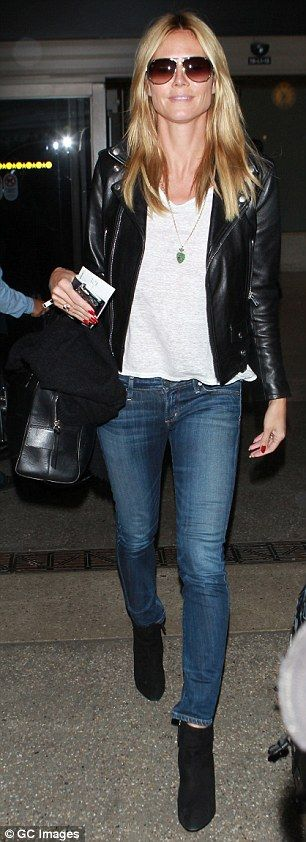 Heidi Klum #celebs #denim #travelstyle                                                                                                                                                                                 More