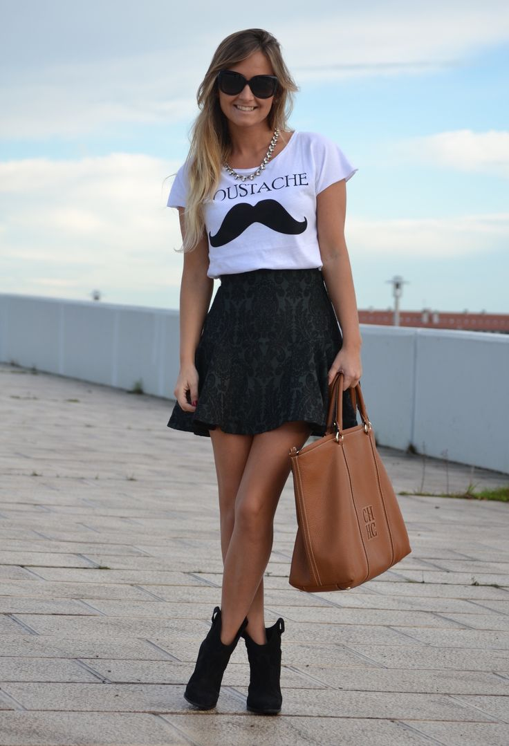 Christian Dior  Glasses / Sunglasses, Cool the Sack  T Shirts and Zara  Skirts
