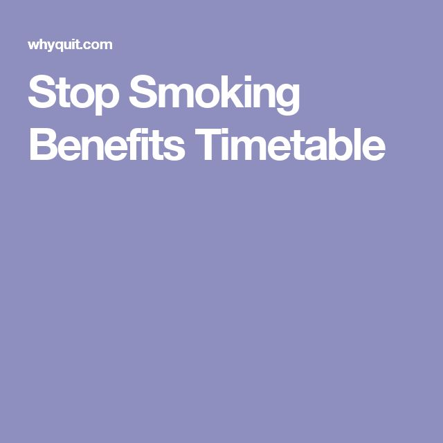 Stop Smoking Benefits Timetable