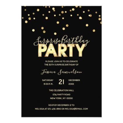 Modern Trendy Gold Black SURPRISE BIRTHDAY PARTY Card - birthday gifts party celebration custom gift ideas diy