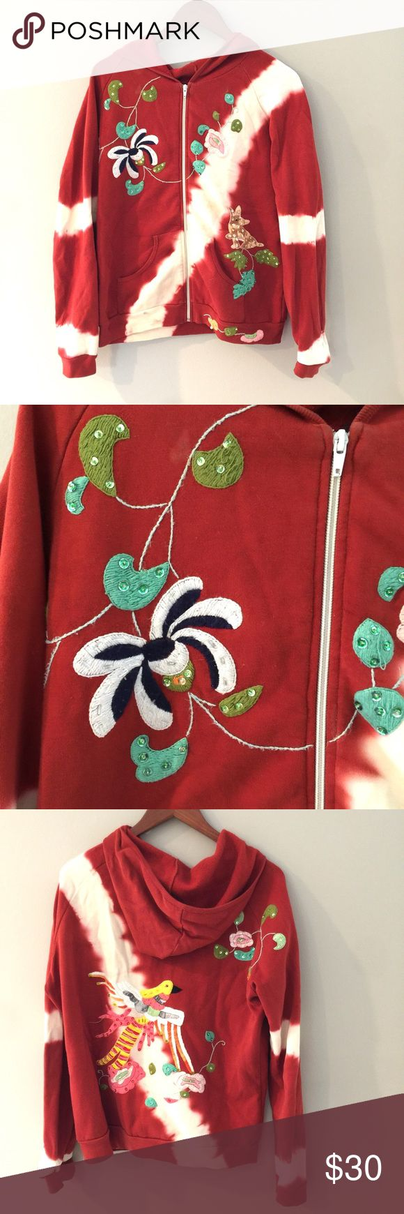 """Embroidered Tie Dye Hoodie with Flowers and Birds Embroidered and Sequin embellished. Zips up. Has pockets. Bust 23"""" flat, length 25"""". 100% cotton Switch USA Jackets & Coats"""