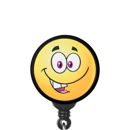 Cheerful Emoji Name Badge Holder - image gifts your image here cyo personalize