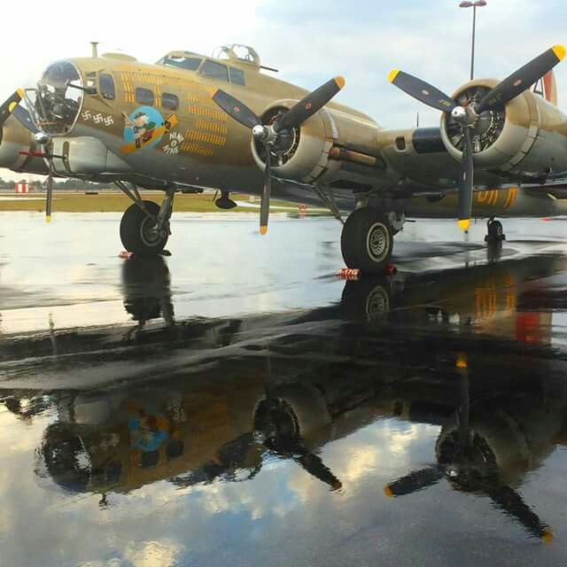 """B-17 Flying Fortress """"909"""". Nine-O-Nine was a Boeing B-17G-30-BO Flying Fortress heavy bomber, of the 323rd Bomb Squadron, 91st Bomb Group, that completed 140 combat missions during World War II, believed to be the Eighth Air Force record for most missions, without loss to the crews that flew it."""