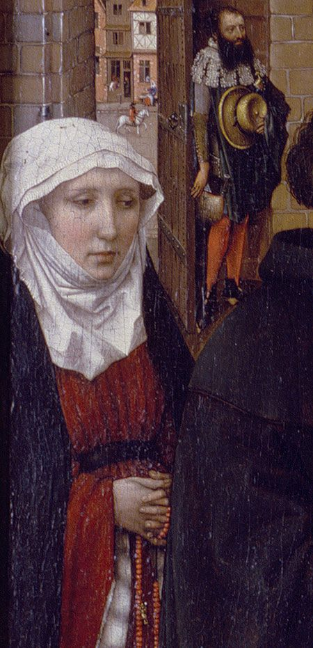 Annunciation Triptych (Merode Altarpiece), ca. 1427–1432  Workshop of Robert Campin (South Netherlandish, active by 1406, died 1444) detail of kneeling donor and messenger from the left wing