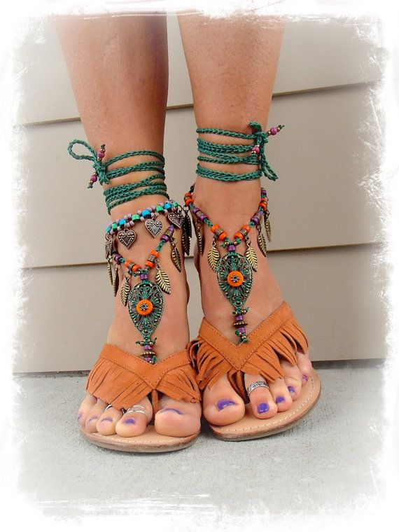 Woodland FAIRY BAREFOOT sandals Emerald Green Tribal ANKLETS Gypsy Sandals Garden Wedding Leaf Toe ankle bracelet Nature jewelry GPyoga