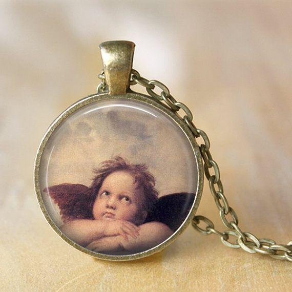 ANGEL Pendant Necklace Raphael Painting by LiteraryArtPrints