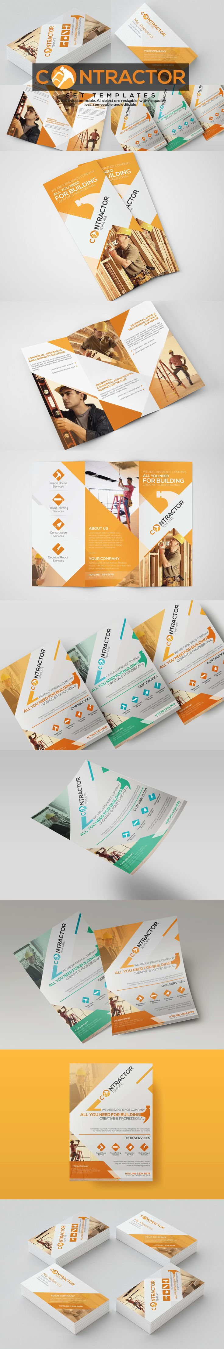 Contractor - Set Templates - Trifold Brochure, Flyer, Business Card