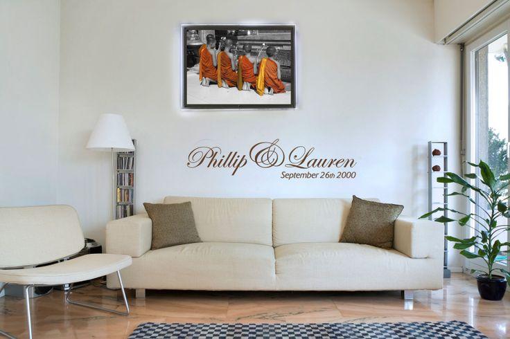 Kleuraccent aan de muur als wanddecoratie. Verlicht via speciale ledjes. www.fotoinlichtbak.nl