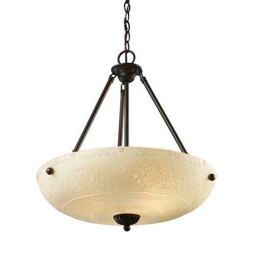 Landmark lighting restoration 4 light led pendant in aged bronze with amber antique glass