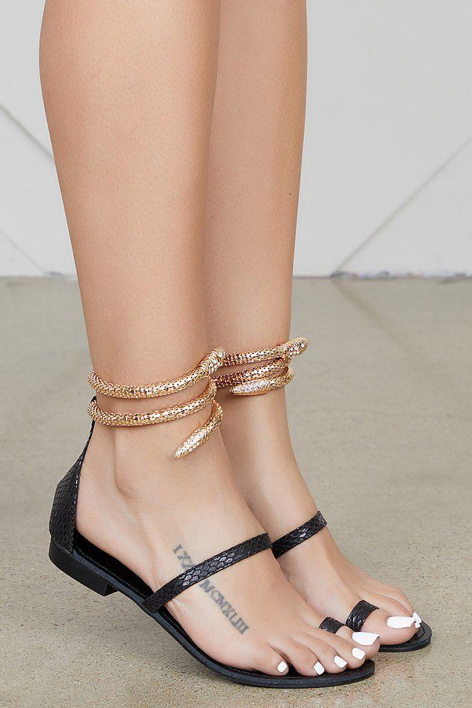 040e2b8149c Ivanna Snake Sandal (Black) in 2019 | Shoes | Black sandals, Sandals ...