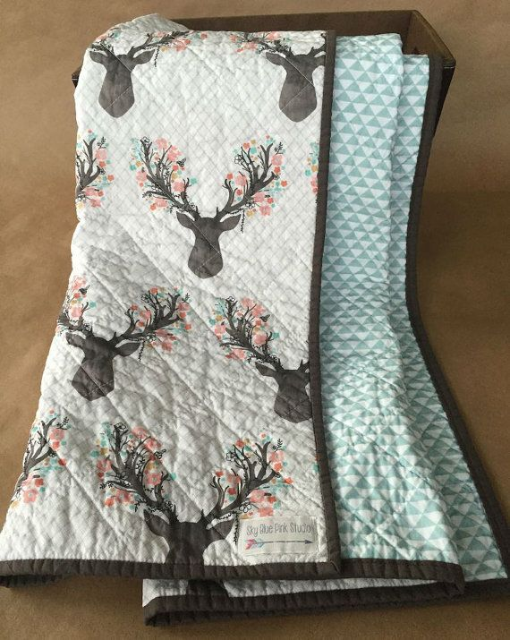 Modern Baby or Toddler Quilt/Play Mat for Baby Girl, Pink Floral Deer and Blue Triangles, Woodland or Rustic Nursery, Ready to Ship