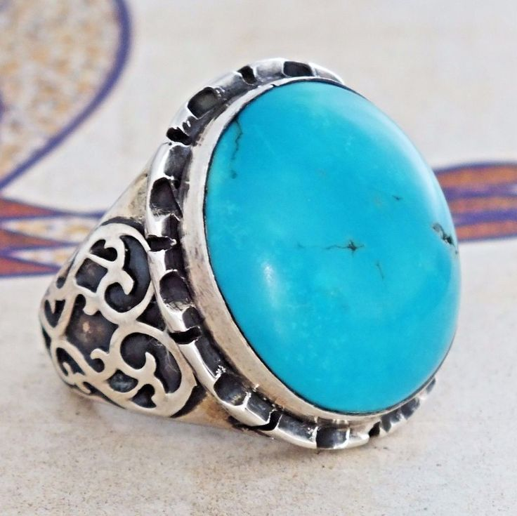 Turquoise Mens Ring Sterling Silver Persian Firoza Unique Handcrafted jewelry #KaraJewels #Handcrafted