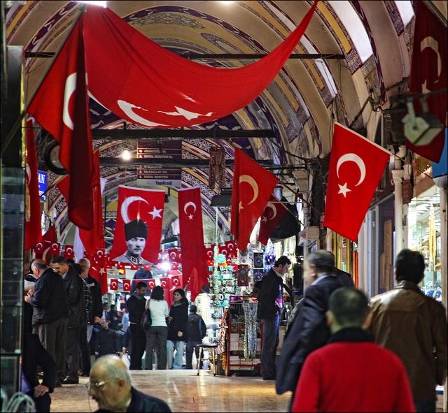 Turkish flags ☪ in a national feast day, Grand Bazaar, Istanbul, Turkey.
