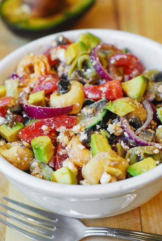 greek salad, greek salad dressing from scratch, avocado salad, cucumbers, olives, tomatoes, onion, snack, appetizer recipes, Mediterranean food, Mediterranean salad