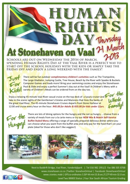 Human Rights Day at Stonehaven on Vaal  in Gauteng right on the banks of the Vaal River