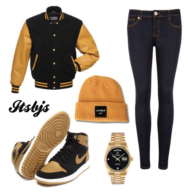 Yellow/Jordan1/gold by itsbjs on Polyvore featuring polyvore, fashion, style, Ted Baker and Rolex