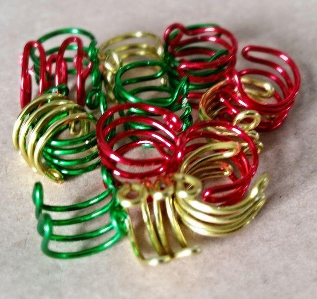 Pack of 3 Christmas Colours Non Pierced Ear Cuffs £1.50