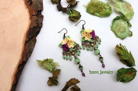 Lampadario floreale orecchini fiore orecchini verde Boho