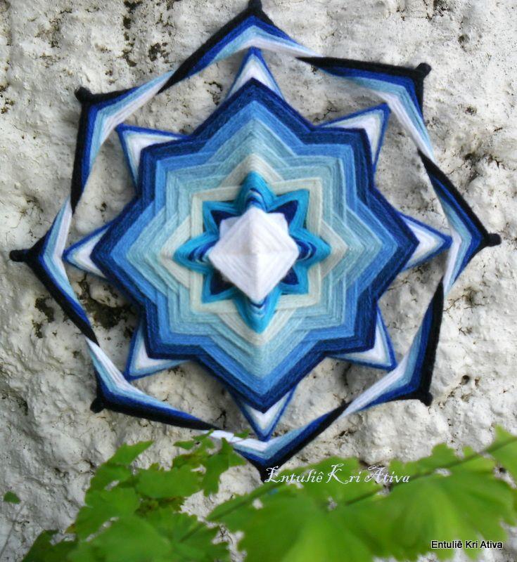 Mandala de lã 30cm, 8 pontas